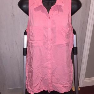 Pink button down no sleeve top